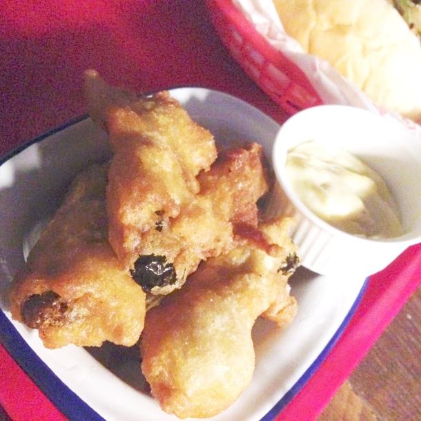Fried pickle spears in tempura batter
